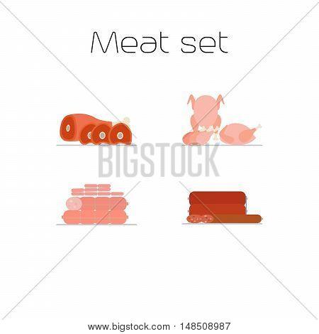 Foods market meat flat icons set. Vector illustration