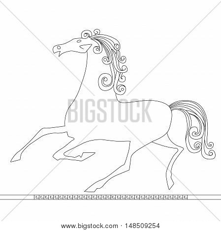 Elegant horse done in a minimal style flat cartoon vector illustration. Eps10. Isolated on a white background.