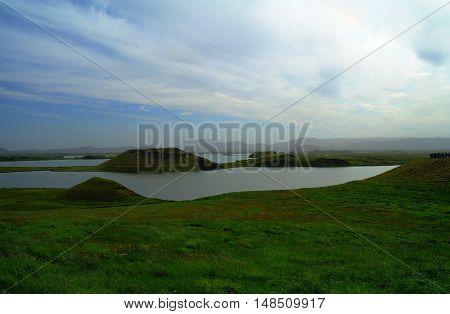 Skutustadir hills landscape Myvatn lake area Iceland