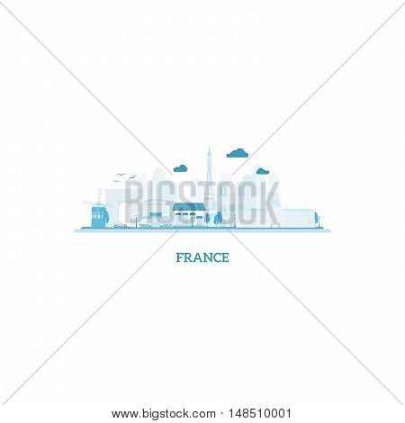 France cityscape silhouette in blue colors. Vector illustration