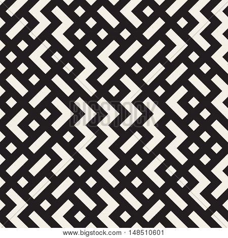 Vector Seamless Black and White Random Zigag Shapes Grid Pattern. Abstract Geometric Background Design