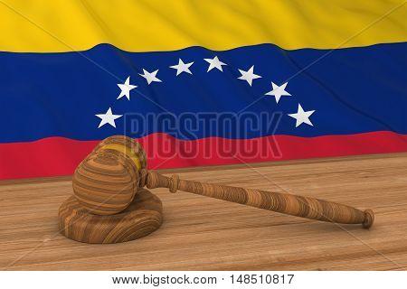 Venezuelan Law Concept - Flag Of Venezuela Behind Judge's Gavel 3D Illustration