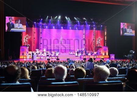 RUSSIA, MOSCOW - DEC 17, 2014: Annual Award Ceremony Federation of Jewish Communities of Russia Violinist on the Roof 5774 in State Kremlin Palace