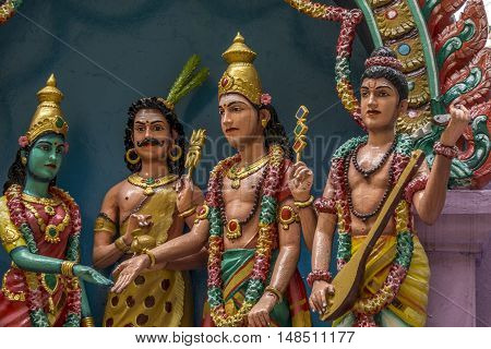 Statues of colourful hindu gods at Batu caves, Kuala-Lumpur, Malaysia