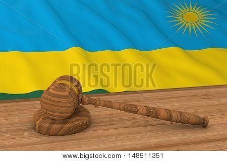Rwandan Law Concept - Flag Of Rwanda Behind Judge's Gavel 3D Illustration