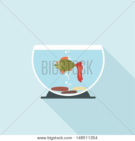 Digital vector fish in aquarium with oxygen bubbles over blue background, flat style