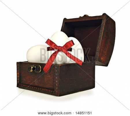 White Candy Easter Eggs In A Chest