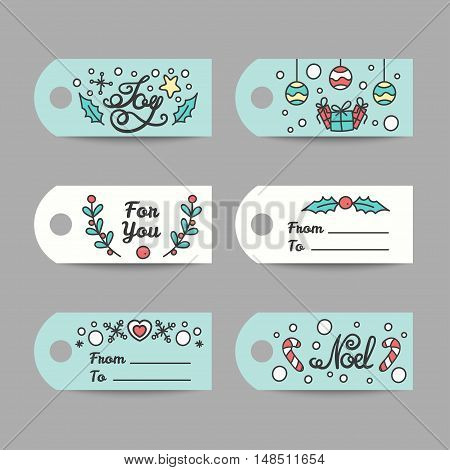Christmas Gift Tags With Typography. New Year Labels. Joy and Noel Lettering Design. Line Art Style Vector Illustration.