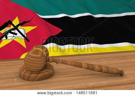Mozambican Law Concept - Flag Of Mozambique Behind Judge's Gavel 3D Illustration