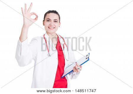 Cheerful Woman Doctor Doing Ok Sign