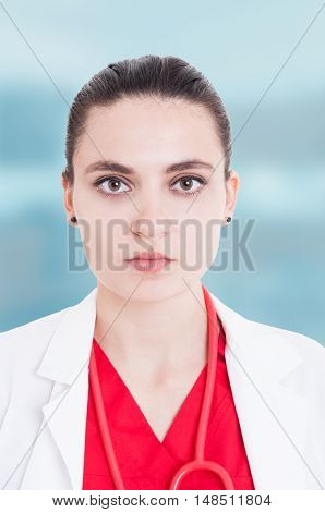 Closeup Portrait Of Serios Female Doctor