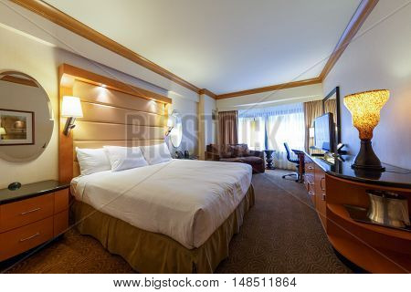 NEW YORK - August 22, 2014: Hotel room of New York Hilton Midtown