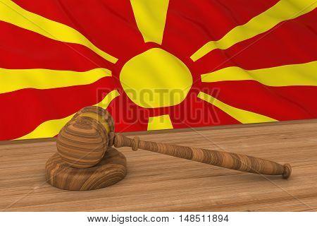 Macedonian Law Concept - Flag Of Macedonia Behind Judge's Gavel 3D Illustration