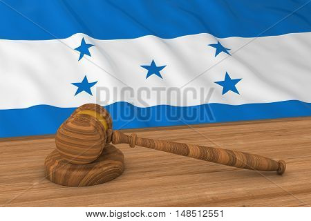 Honduran Law Concept - Flag Of Honduras Behind Judge's Gavel 3D Illustration