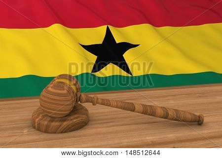 Ghanaian Law Concept - Flag Of Ghana Behind Judge's Gavel 3D Illustration