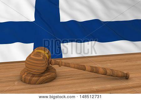 Finnish Law Concept - Flag Of Finland Behind Judge's Gavel 3D Illustration