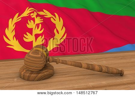 Eritrean Law Concept - Flag Of Eritrea Behind Judge's Gavel 3D Illustration