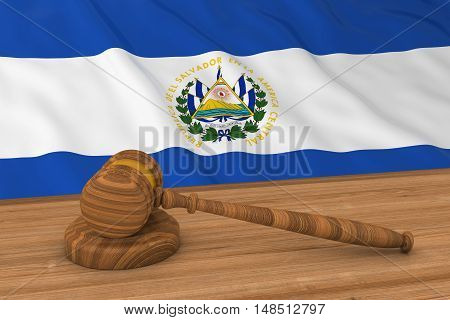 Salvadoran Law Concept - Flag Of El Salvador Behind Judge's Gavel 3D Illustration