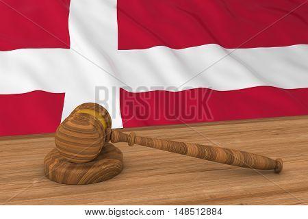 Danish Law Concept - Flag Of Denmark Behind Judge's Gavel 3D Illustration