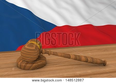 Czech Law Concept - Flag Of The Czech Republic Behind Judge's Gavel 3D Illustration