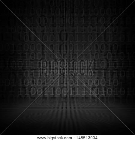abstract binary code with black background