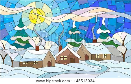 Illustration in stained glass style with the winter village scenery three lonely house on a background of snow-covered trees snow and the daytime sky