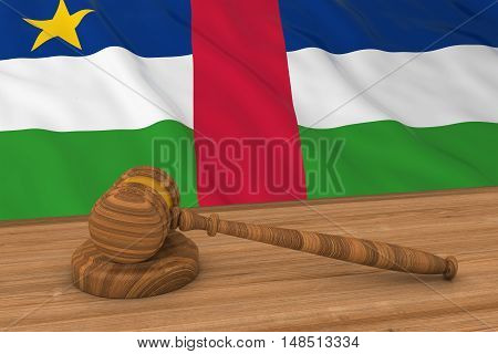 Flag Of The Central African Republic Behind Judge's Gavel 3D Illustration