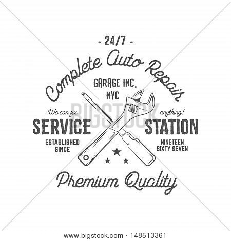 Service station vintage label, tee design graphics, complete auto repair service typography print. Custom t-shirt stamp, teeshirt graphic. Use as tee shirt print, emblem, logo on web. Vector artwork.