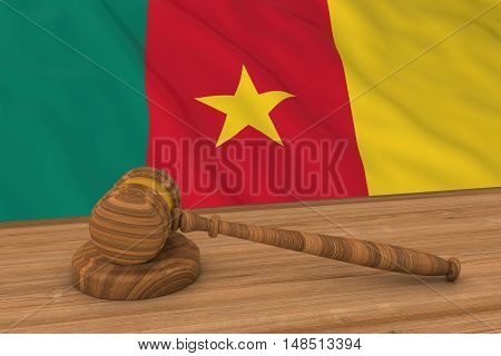 Cameroonian Law Concept - Flag Of Cameroon Behind Judge's Gavel 3D Illustration
