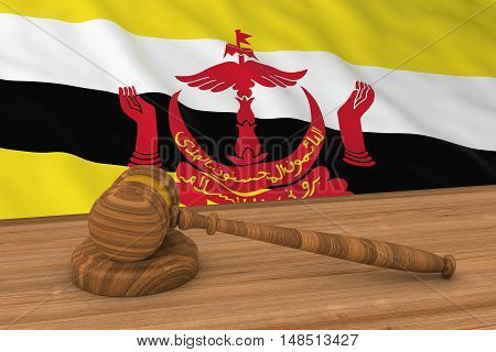 Bruneian Law Concept - Flag Of Brunei Behind Judge's Gavel 3D Illustration