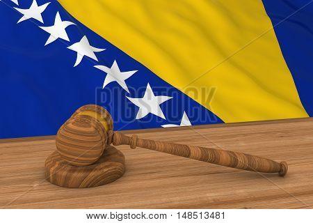 Flag Of Bosnia And Herzegovina Behind Judge's Gavel 3D Illustration