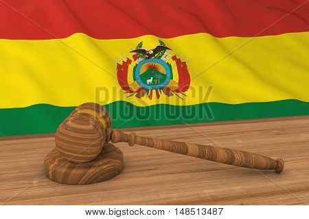 Bolivian Law Concept - Flag Of Bolivia Behind Judge's Gavel 3D Illustration