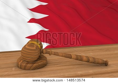 Bahraini Law Concept - Flag Of Bahrain Behind Judge's Gavel 3D Illustration