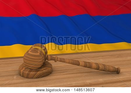 Armenian Law Concept - Flag Of Armenia Behind Judge's Gavel 3D Illustration