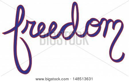 American Red White and Blue Freedom Lettering