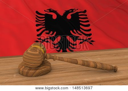 Albanian Law Concept - Flag Of Albania Behind Judge's Gavel 3D Illustration