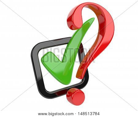Voting concept. Check box and red question sign. 3d illustration isolated on a white bacground.