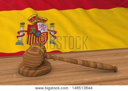 Spanish Law Concept - Flag Of Spain Behind Judge's Gavel 3D Illustration