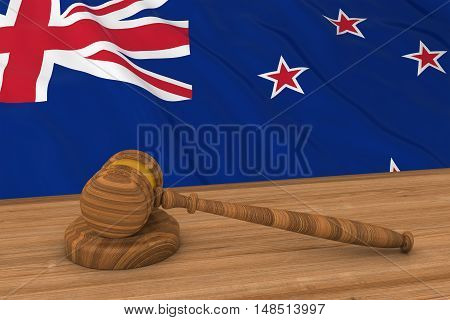 New Zealand Law Concept - Flag Of New Zealand Behind Judge's Gavel 3D Illustration