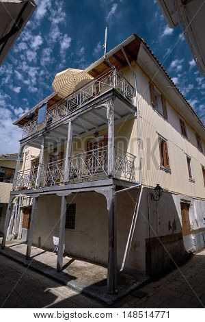 Apartment house with balconies on the Greek island of Lefkada