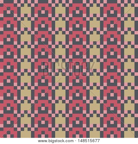 Abstract modern seamless stitching pattern in ice cream colors. Pixel art. Vector illustration