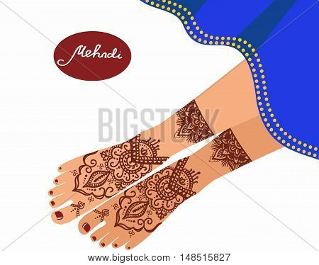 legs with mehendi patterns. Vector illustration for a yoga studio, tattoo, spas, postcards, souvenirs. Indian traditional lifestyle.