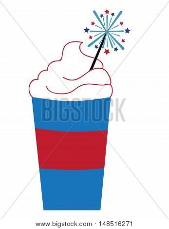 Red White Blue American Coffee with Firework