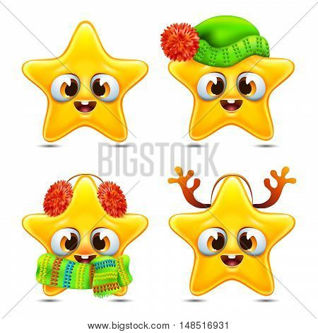 funny star emotions icons set in winter time