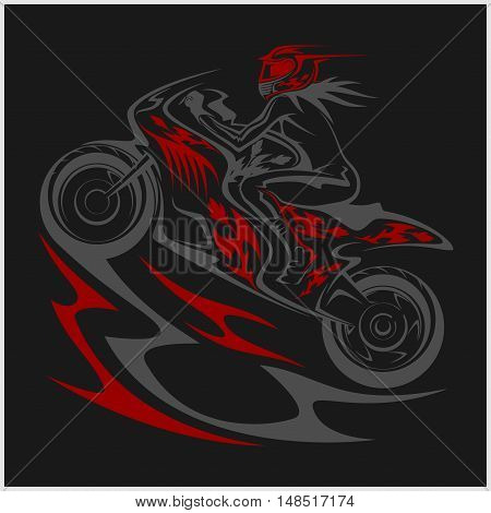 Motorcycle racer sport and tribal design on white background