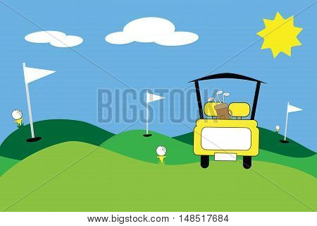 Yellow Golfing Scene with Cart and Clubs