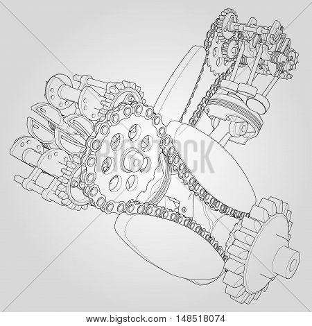 Engine components in disassembled state. Vector illustration of lines