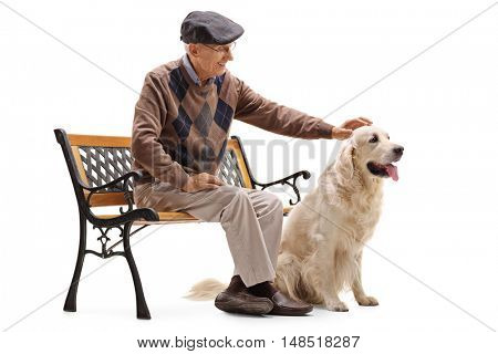Mature man sitting on a bench and petting his dog isolated on white background