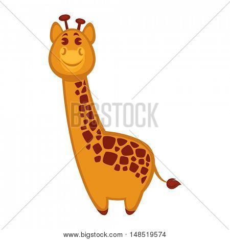 Cute giraffe cartoon. Vector Illustration. Isolated on white.