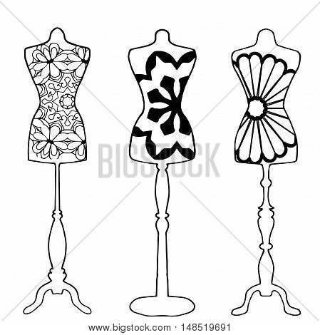Mannequins drawn in outline on white background with cool pattern